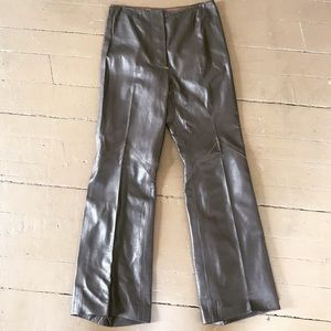 Vintage chocolate brown leather pant with snaps